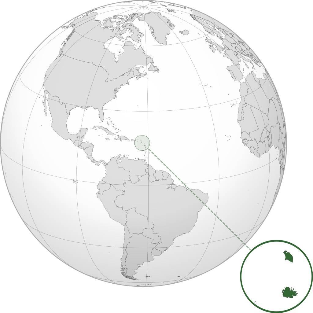 Antigua-et-Barbuda sur une carte d'Amérique Centrale
