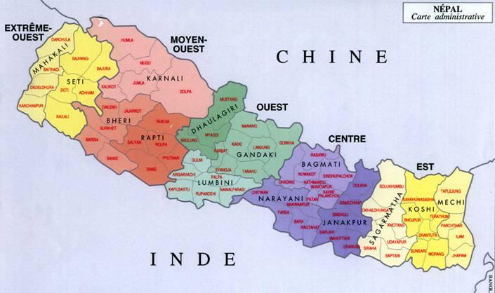 Autre carte administrative du Népal
