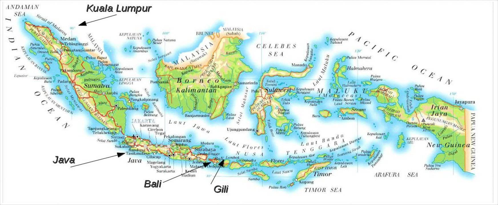 Autre carte de l'Indonésie
