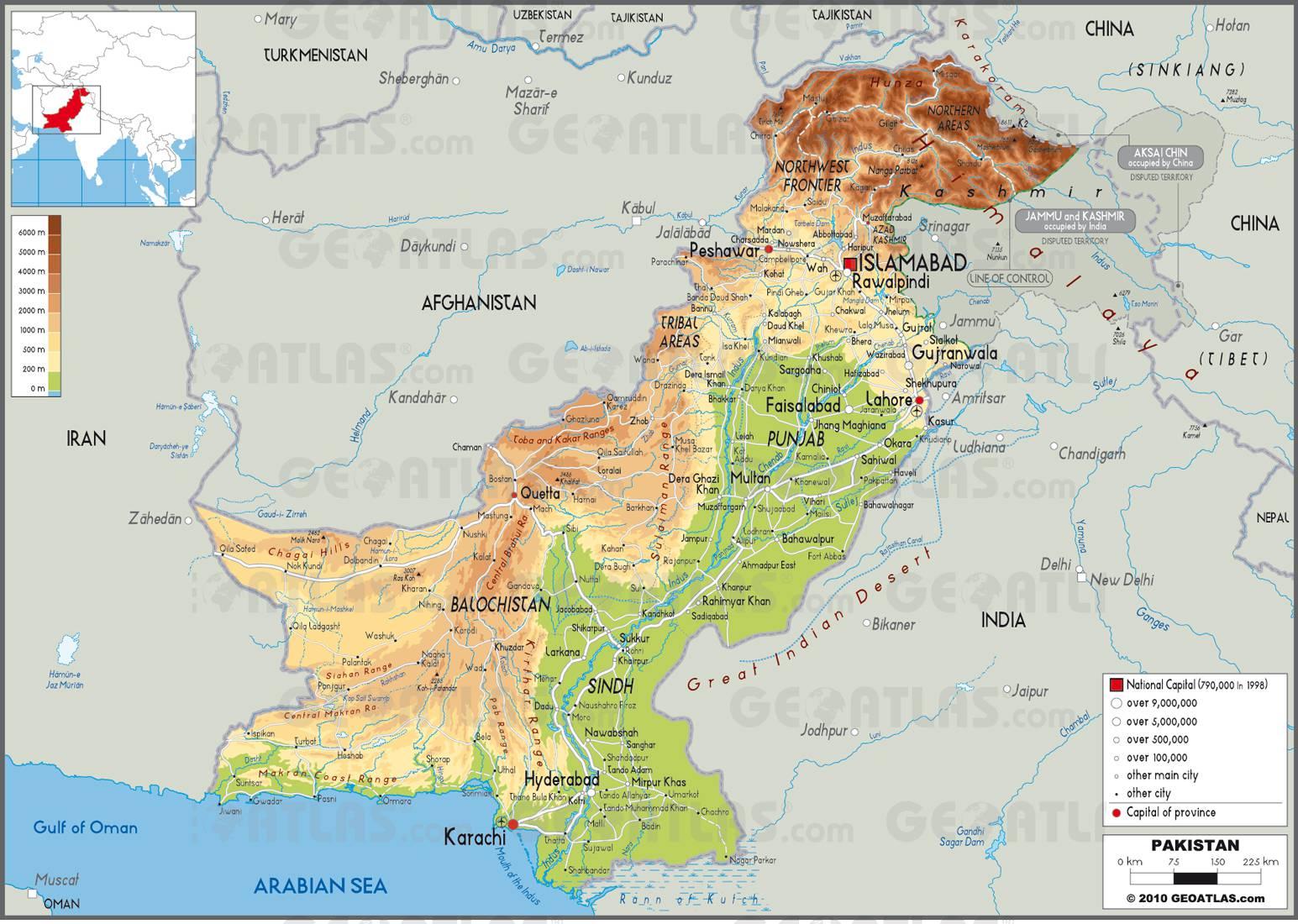 Carte géographique du Pakistan