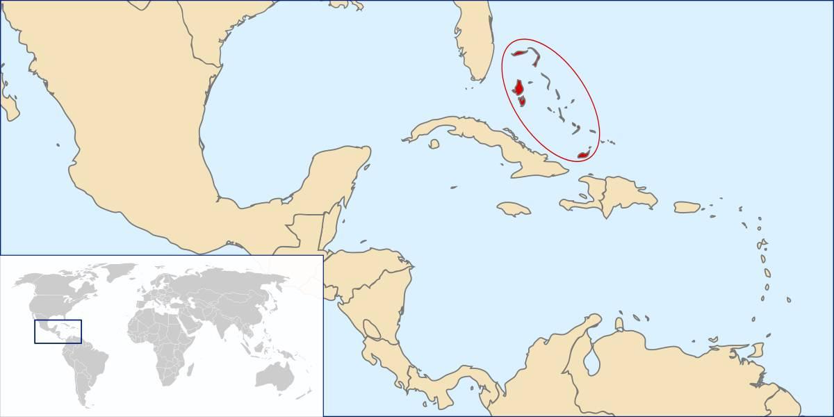 Bahamas sur une carte de l'Amérique