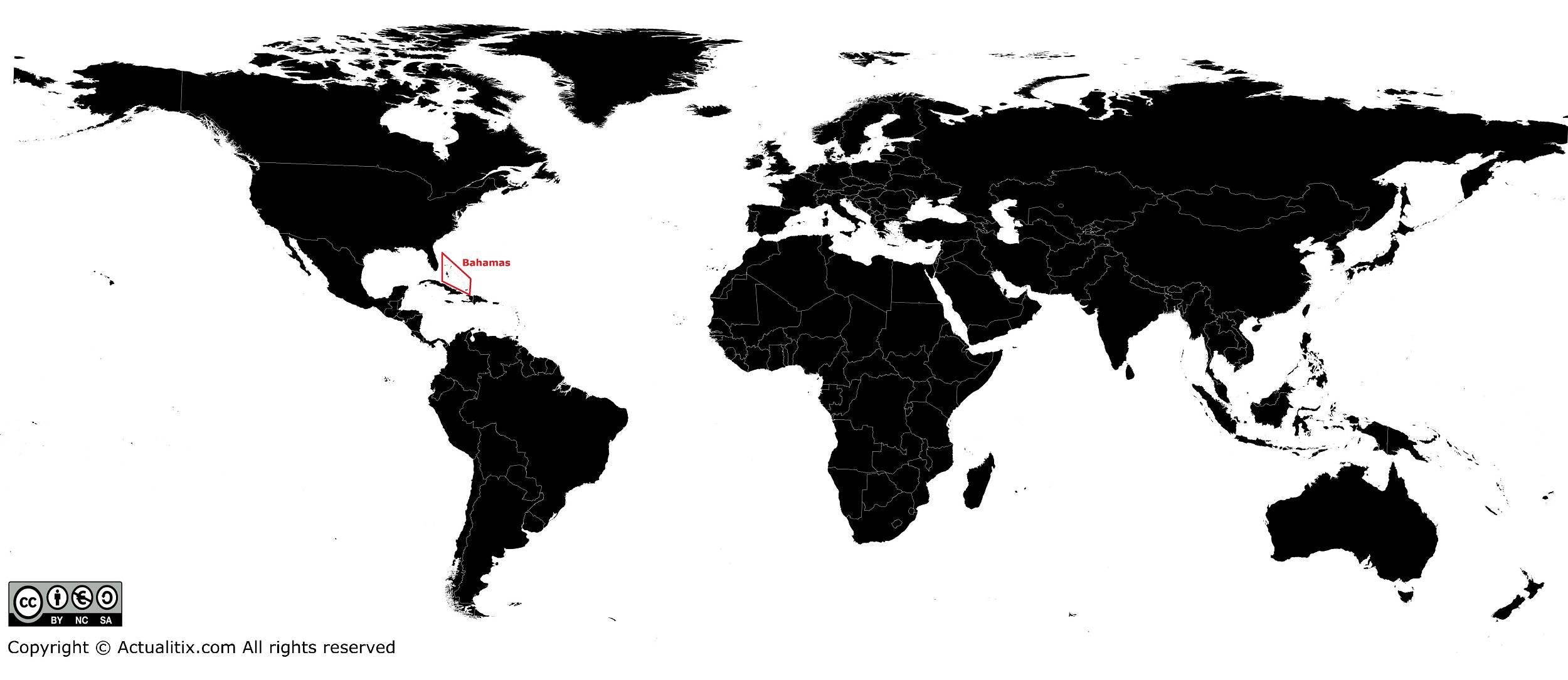 Bahamas sur une carte du Monde