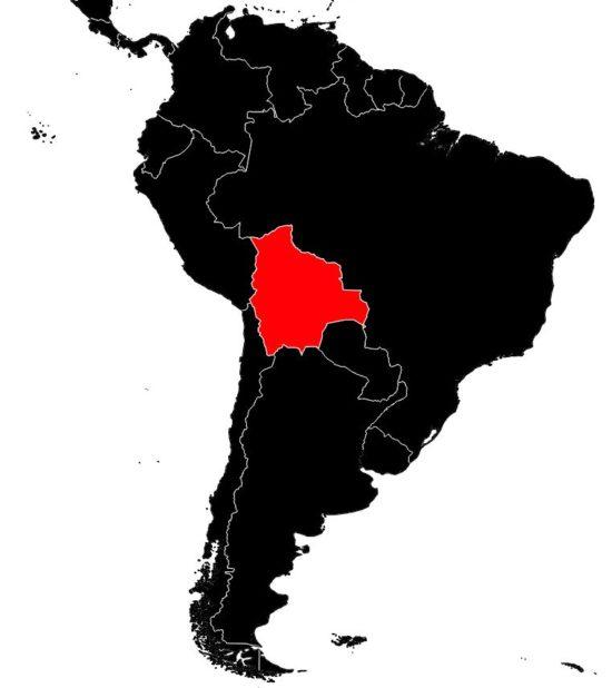 Bolivie sur une carte d'Amérique-du-Sud