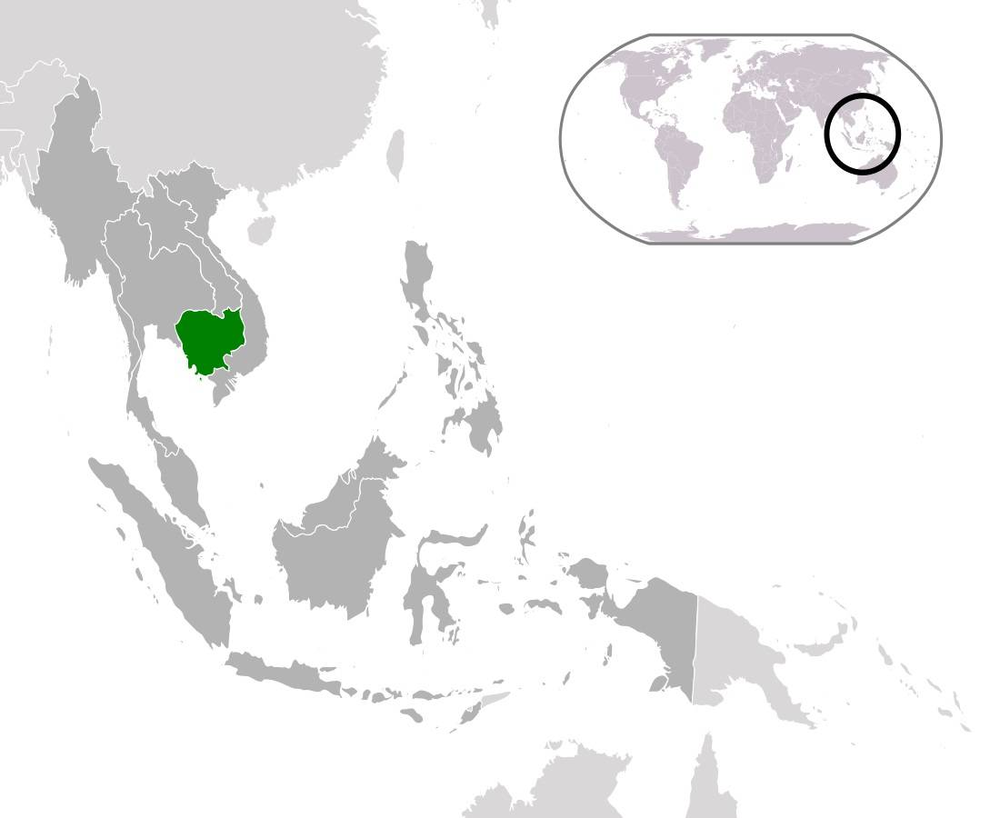 Cambodge sur une carte de l'Asie