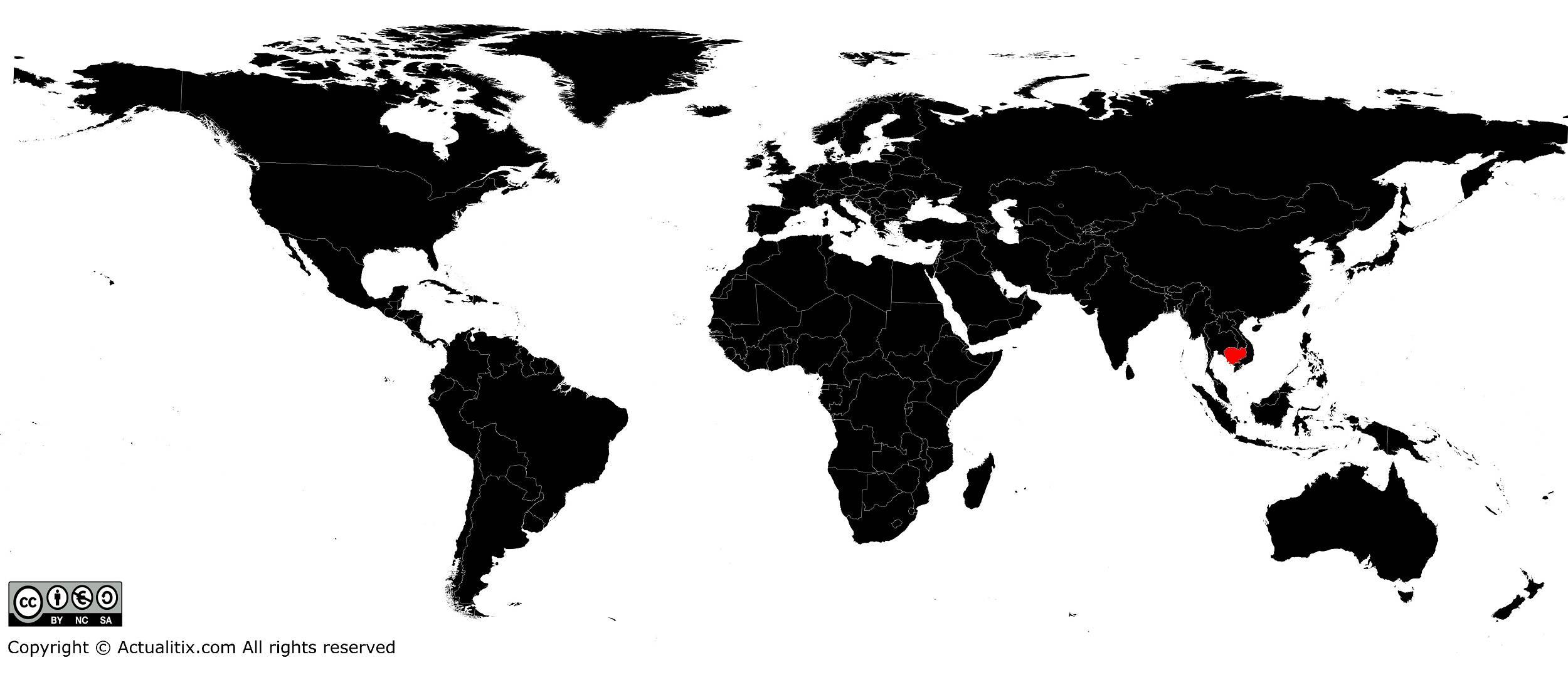 Cambodge sur une carte du Monde