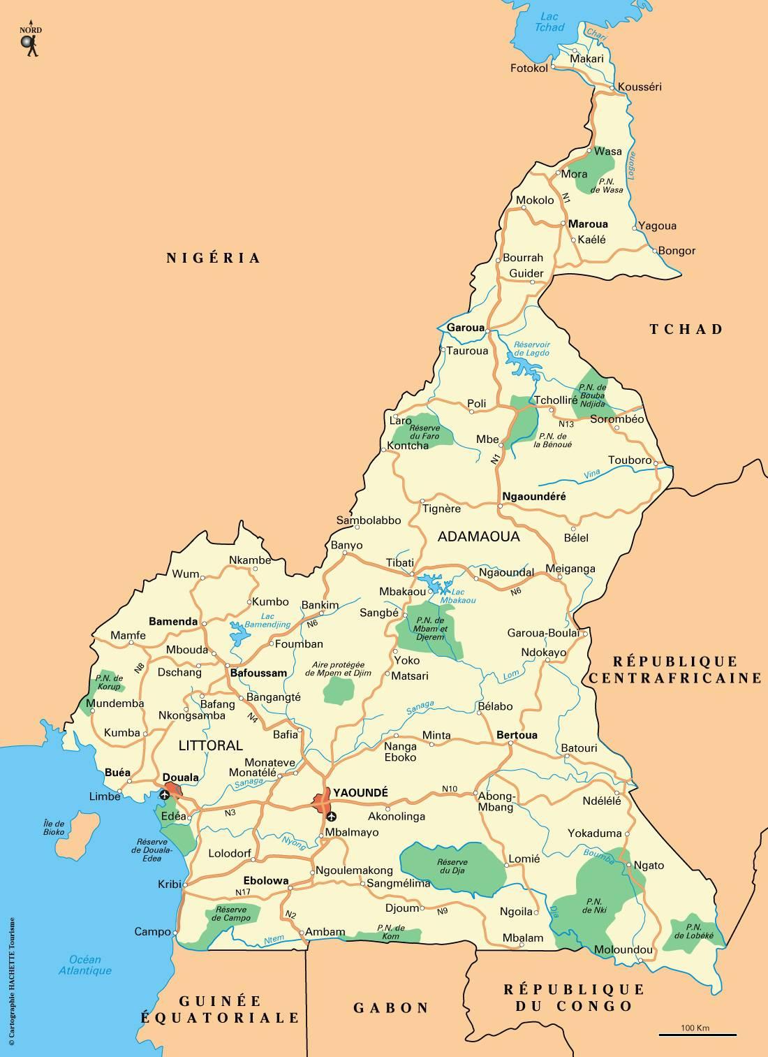 Carte du Cameroun   Différentes cartes du pays du continent africain