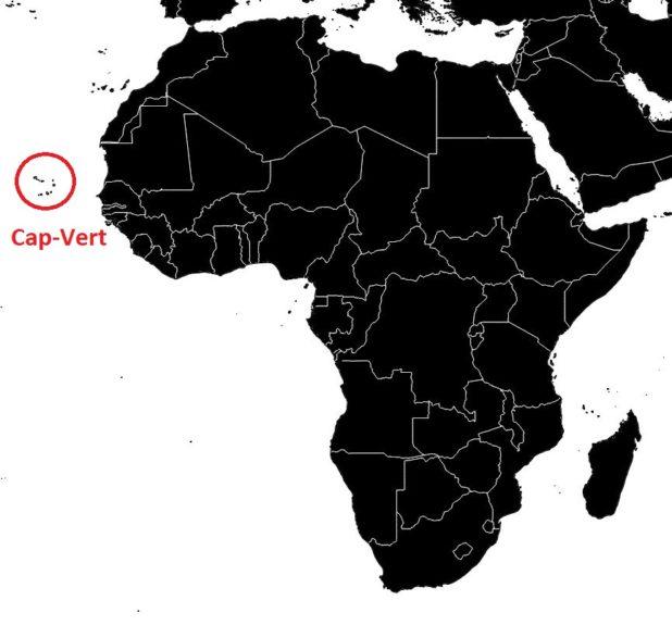 Cap-Vert sur une carte de l'Afrique