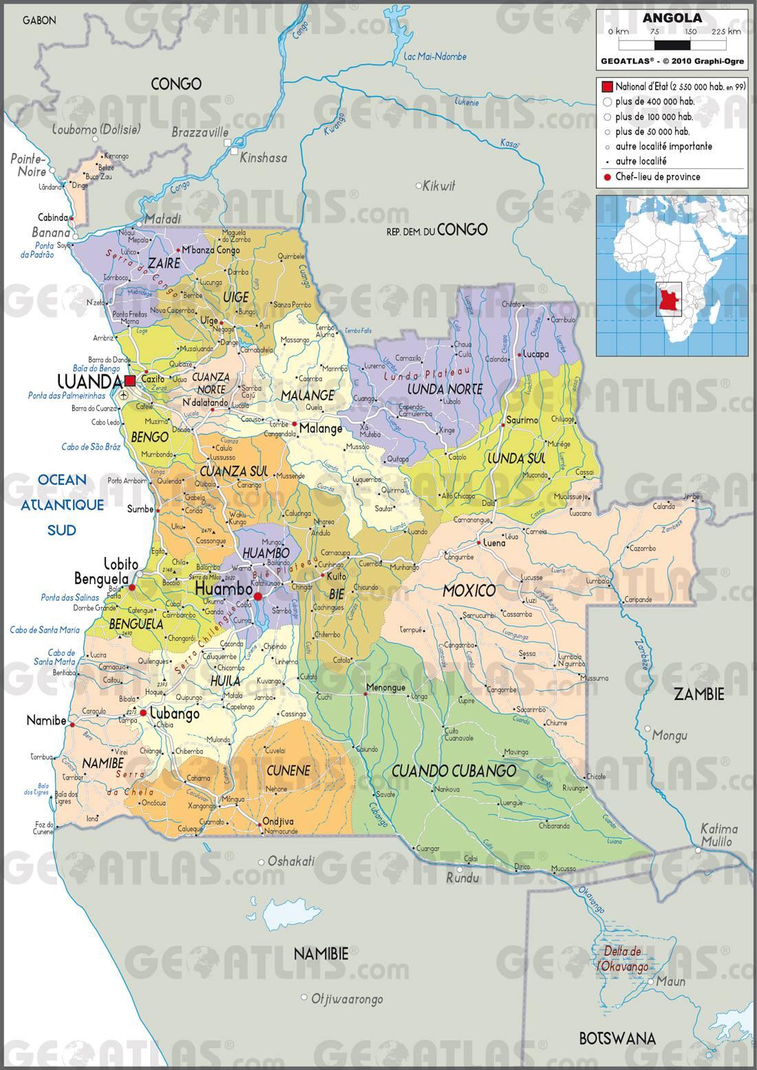 Carte administrative de l'Angola