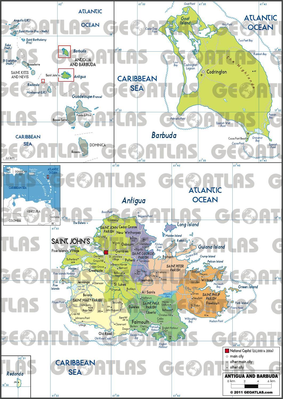 Carte administrative d'Antigua-et-Barbuda