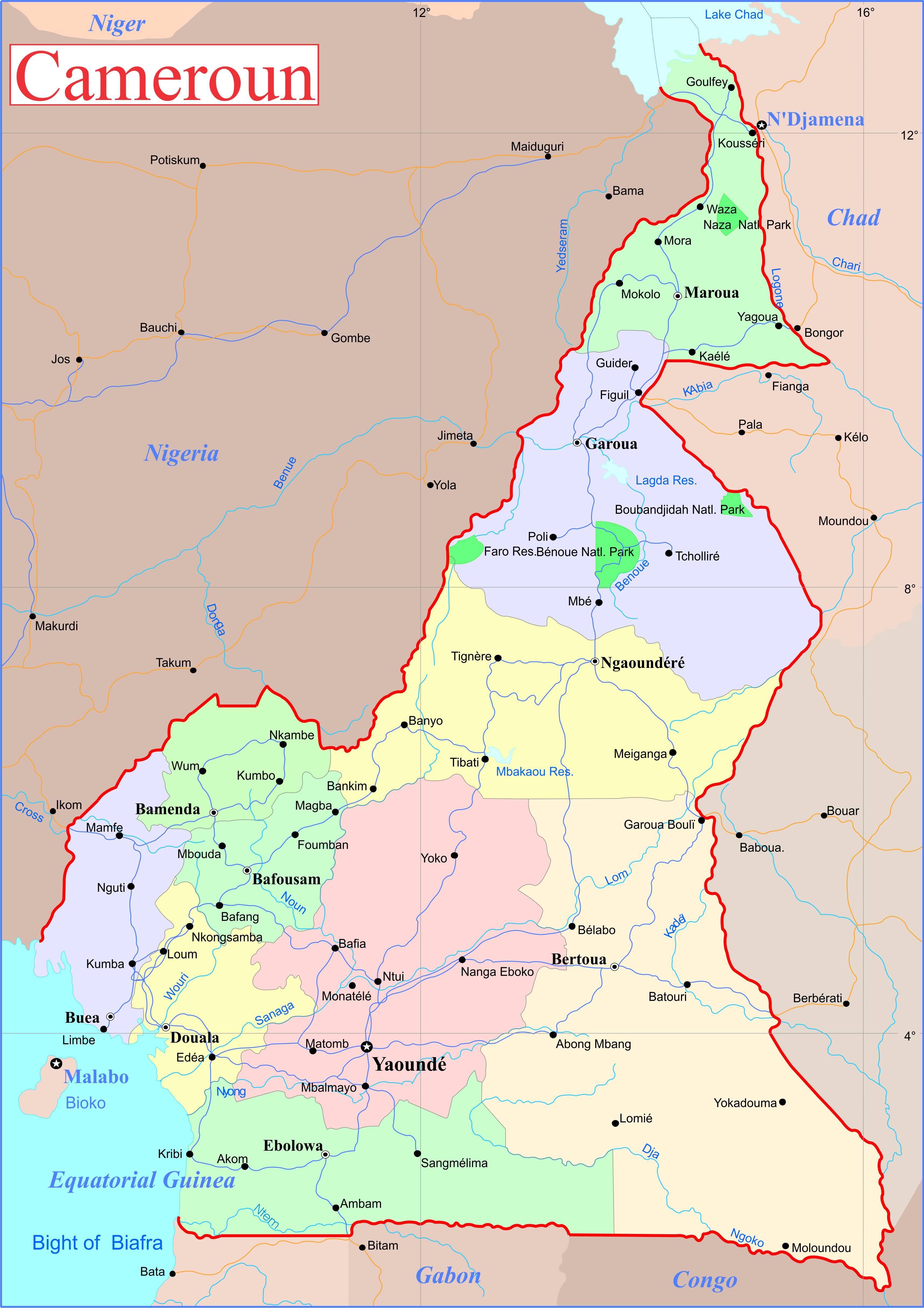 Carte administrative du Cameroun