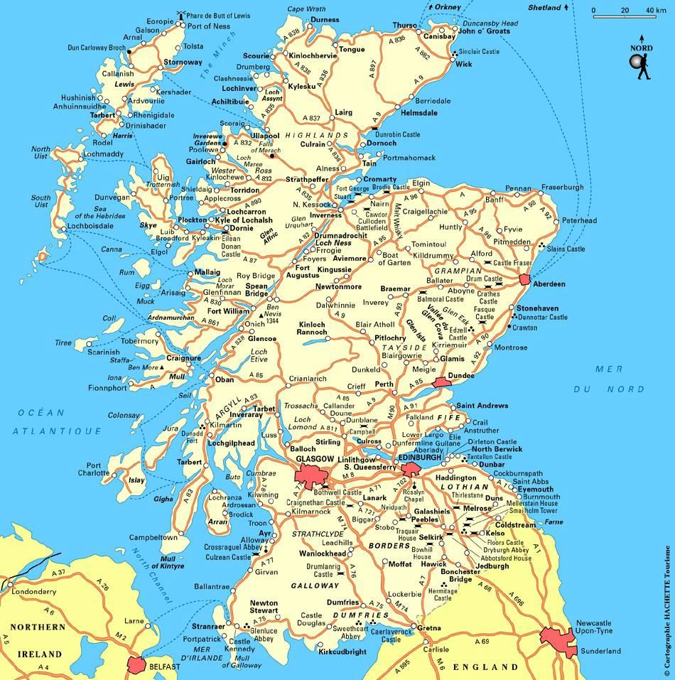 Carte administrative de l'Écosse