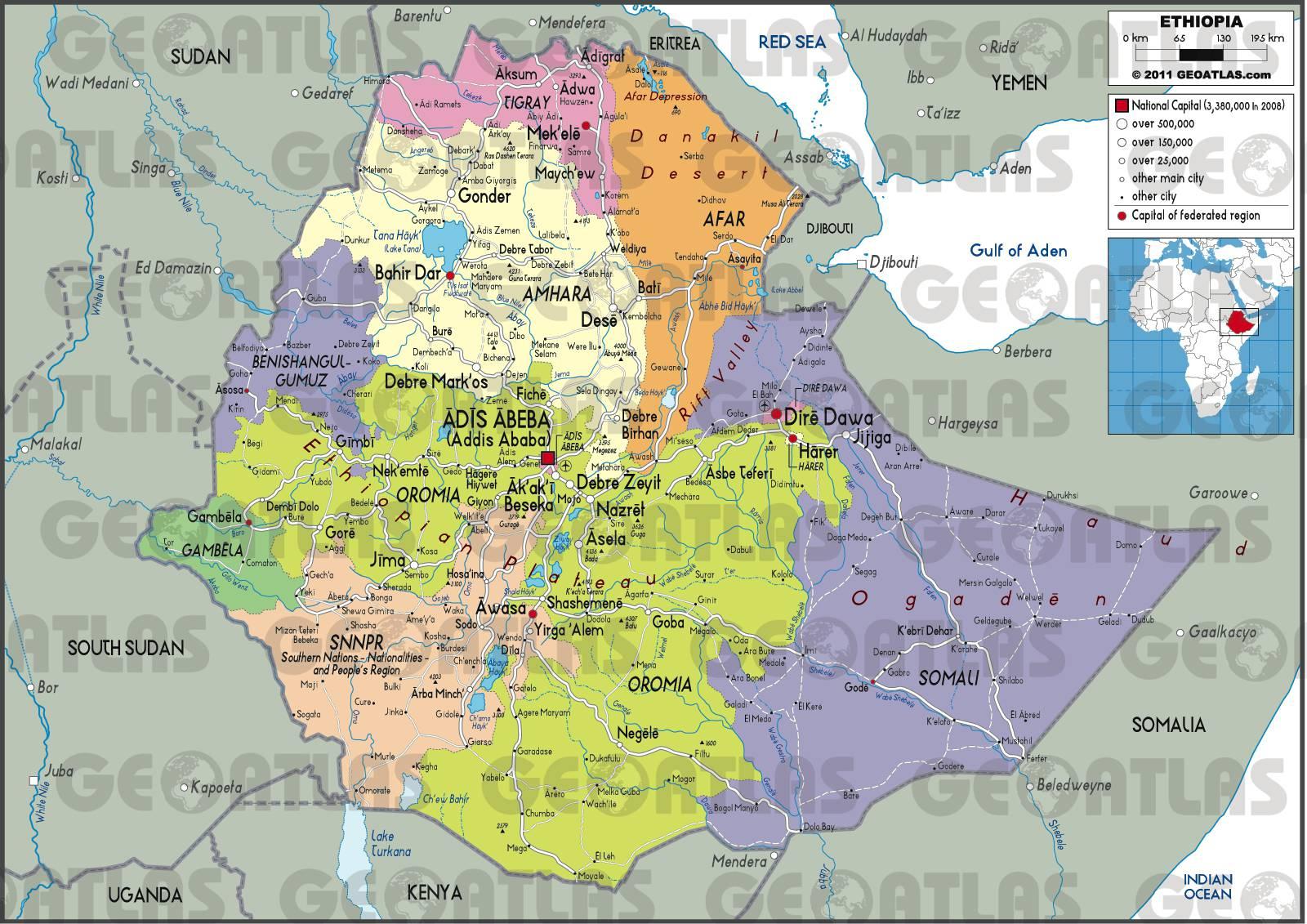 Carte administrative de l'Ethiopie