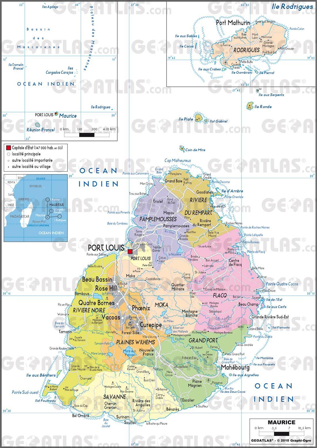 Carte administrative de l'Île Maurice