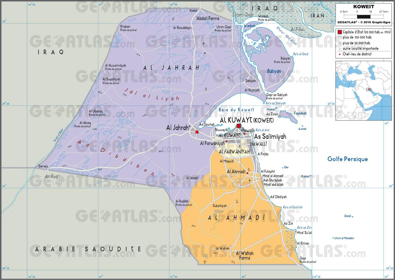 Carte administrative du Koweït