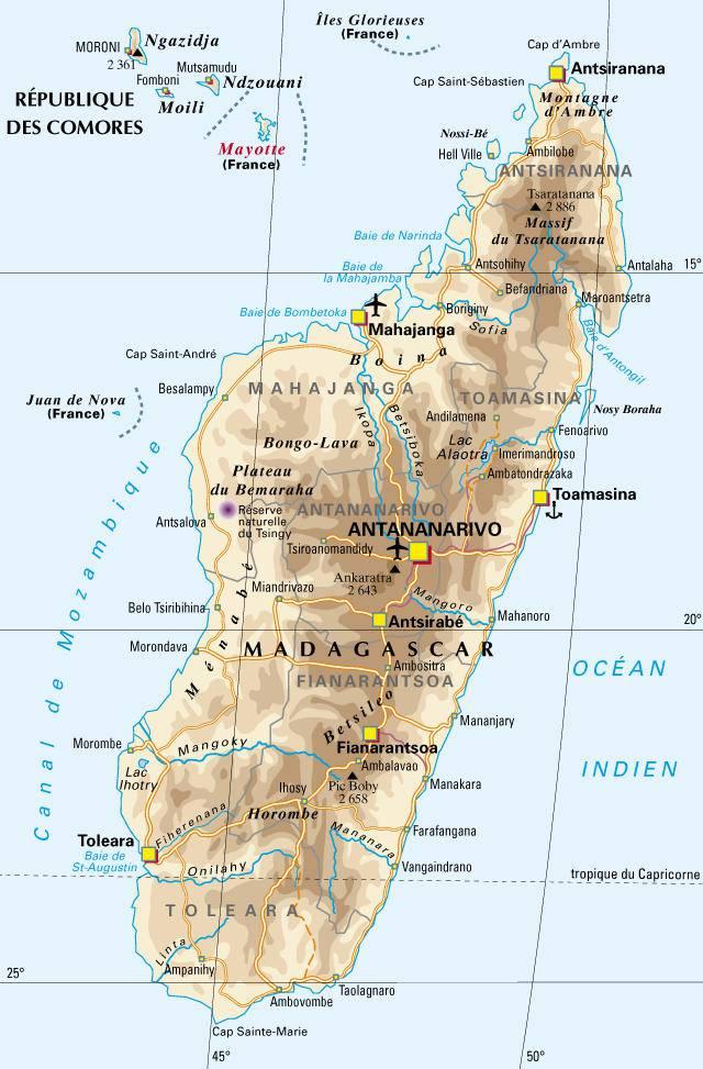 Carte administrative de Madagascar