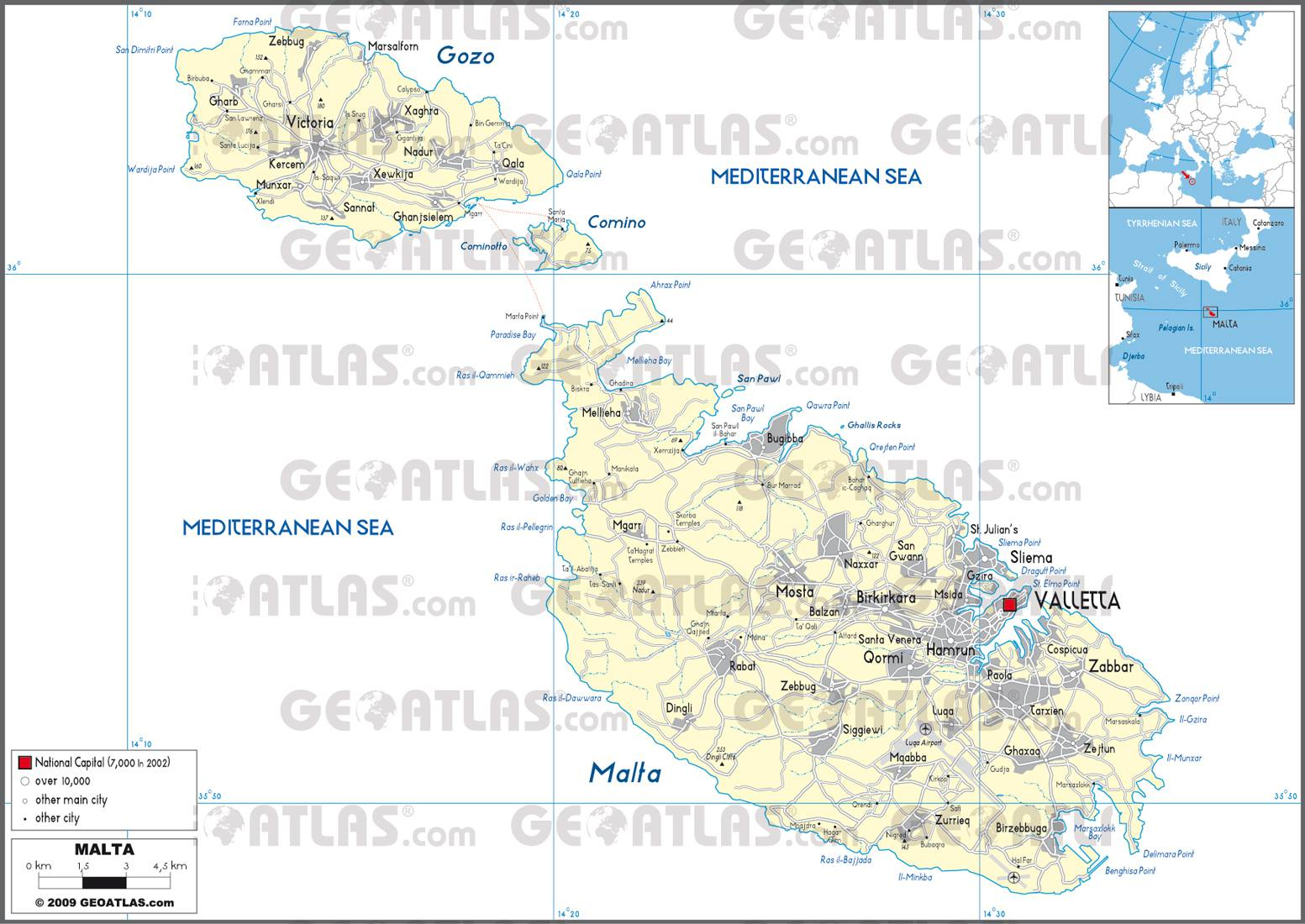 Carte administrative de Malte
