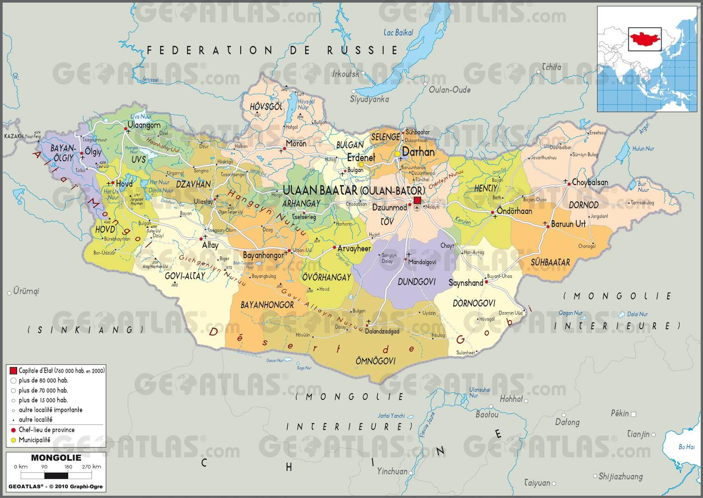 Carte administrative de la Mongolie