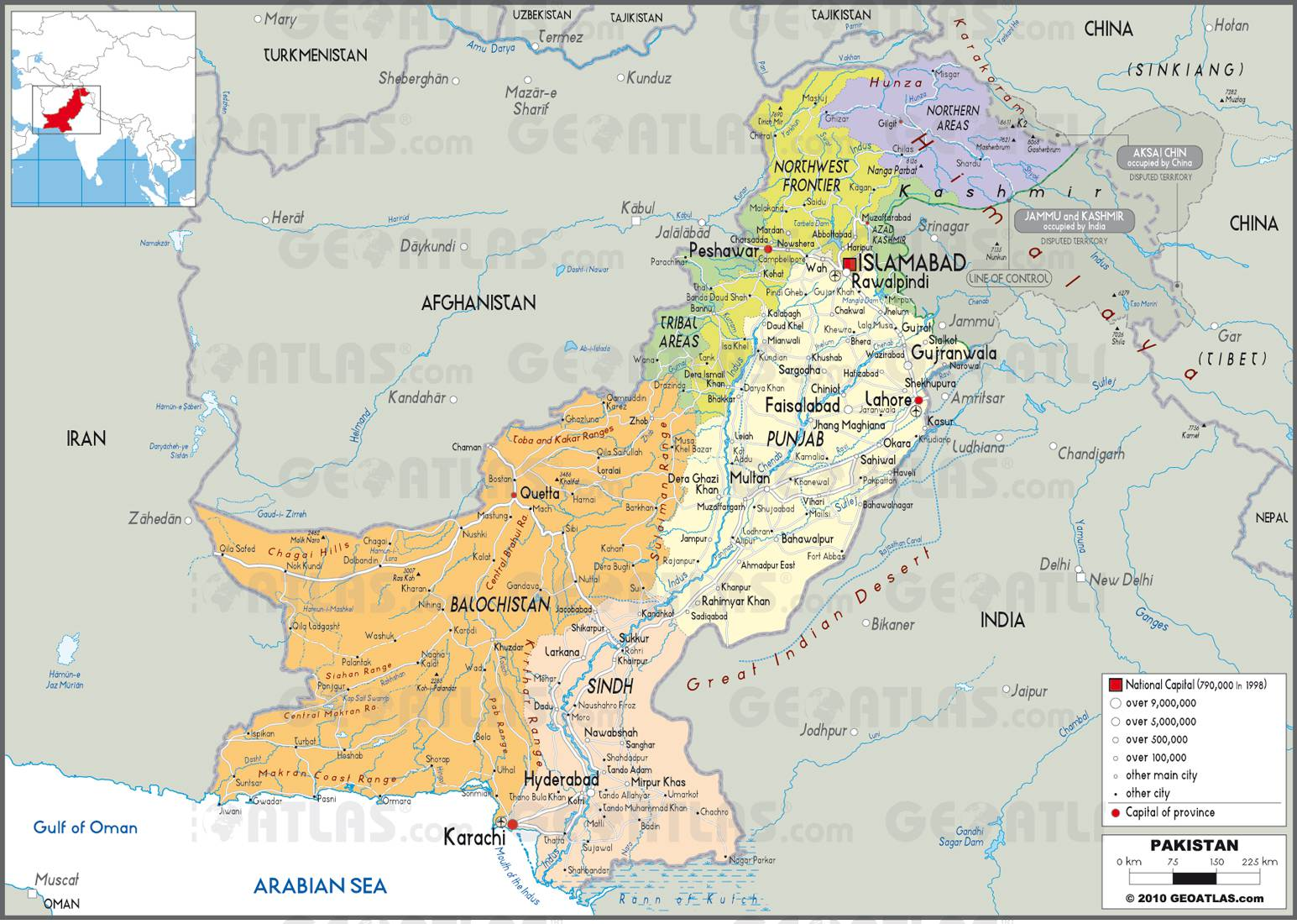 Carte administrative du Pakistan
