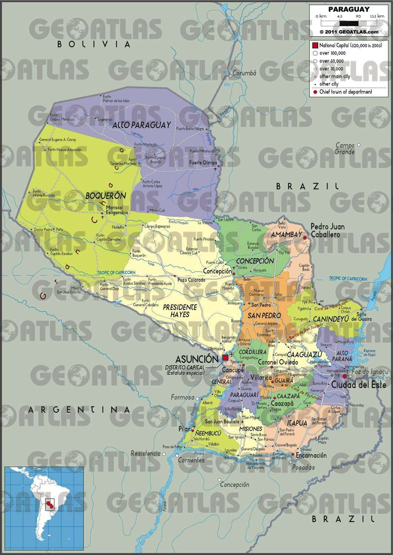 Carte administrative du Paraguay