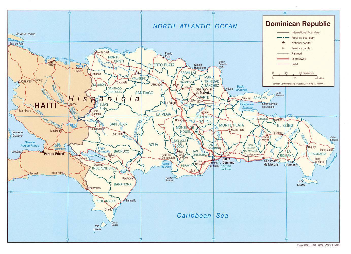 Carte administrative de la République dominicaine