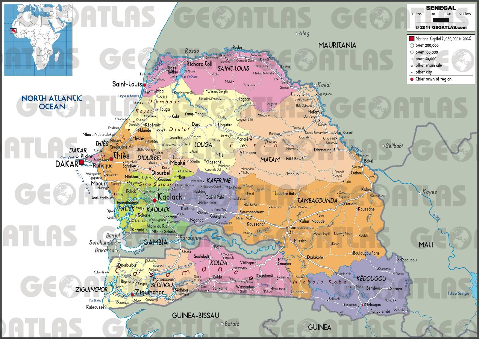 Carte administrative du Sénégal