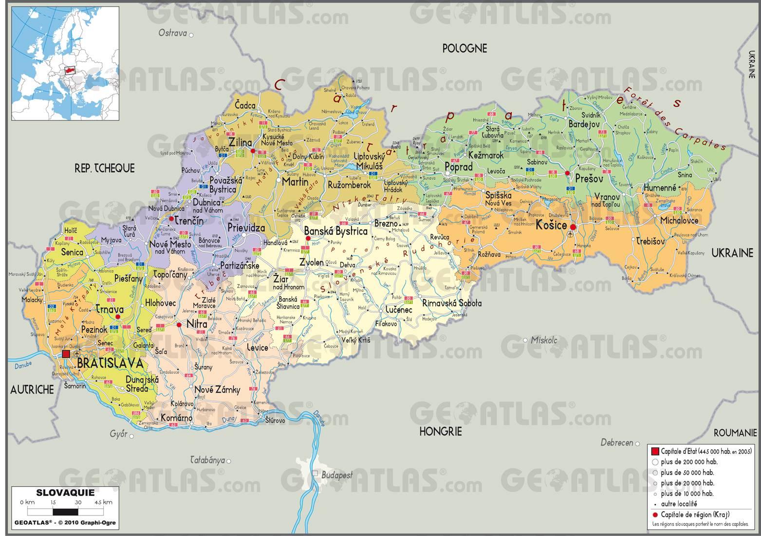 Carte administrative de la Slovaquie
