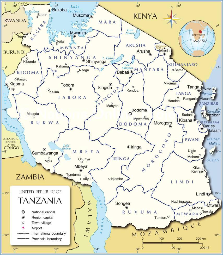 Carte administrative de la Tanzanie