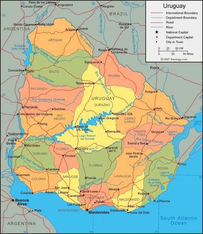Carte administrative de l'Uruguay