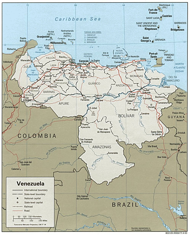 Carte administrative du Venezuela