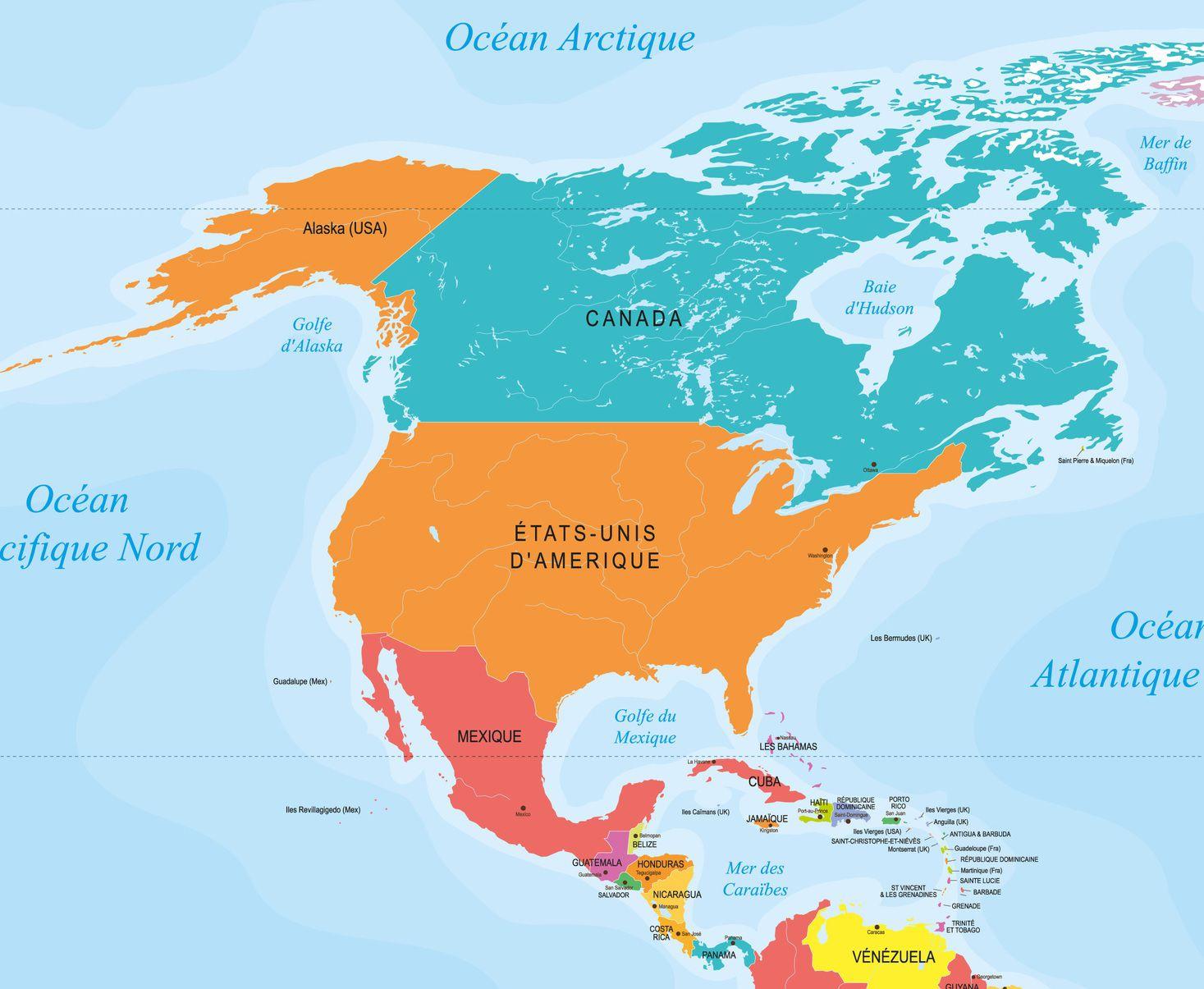 Carte des capitales en Amérique du Nord et Centrale
