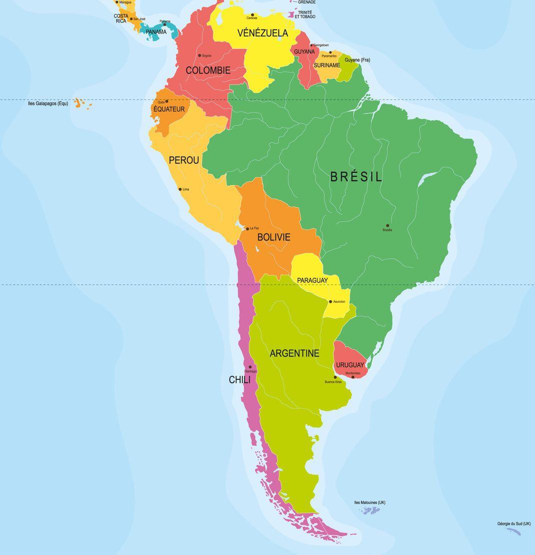 Carte des capitales en Amérique du Sud