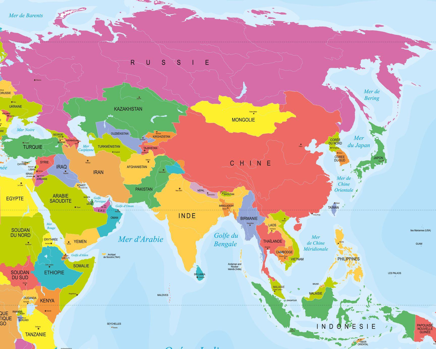carte d asie avec nom des pays Capitales en Asie par pays avec une carte pour leurs emplacements