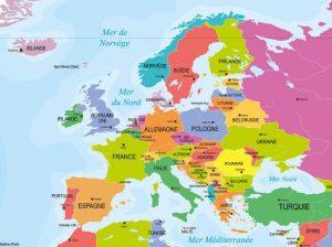 Carte des capitales en Europe