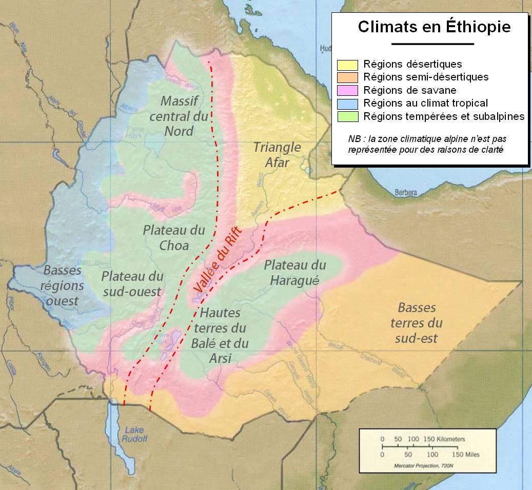 Carte du climat de l'Ethiopie