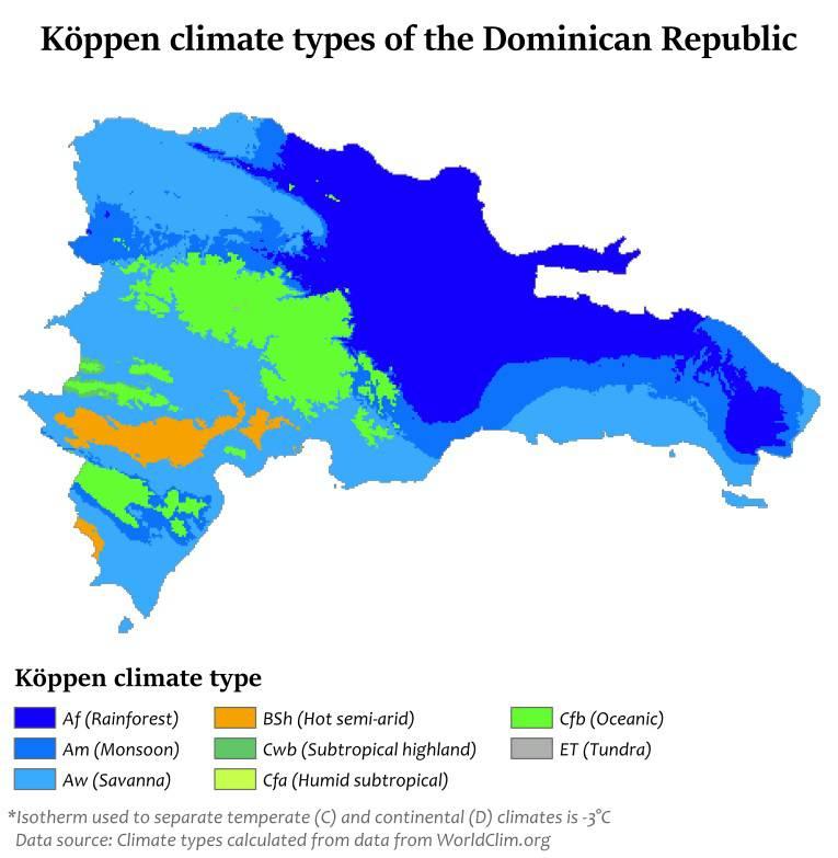 Carte du climat de la République dominicaine