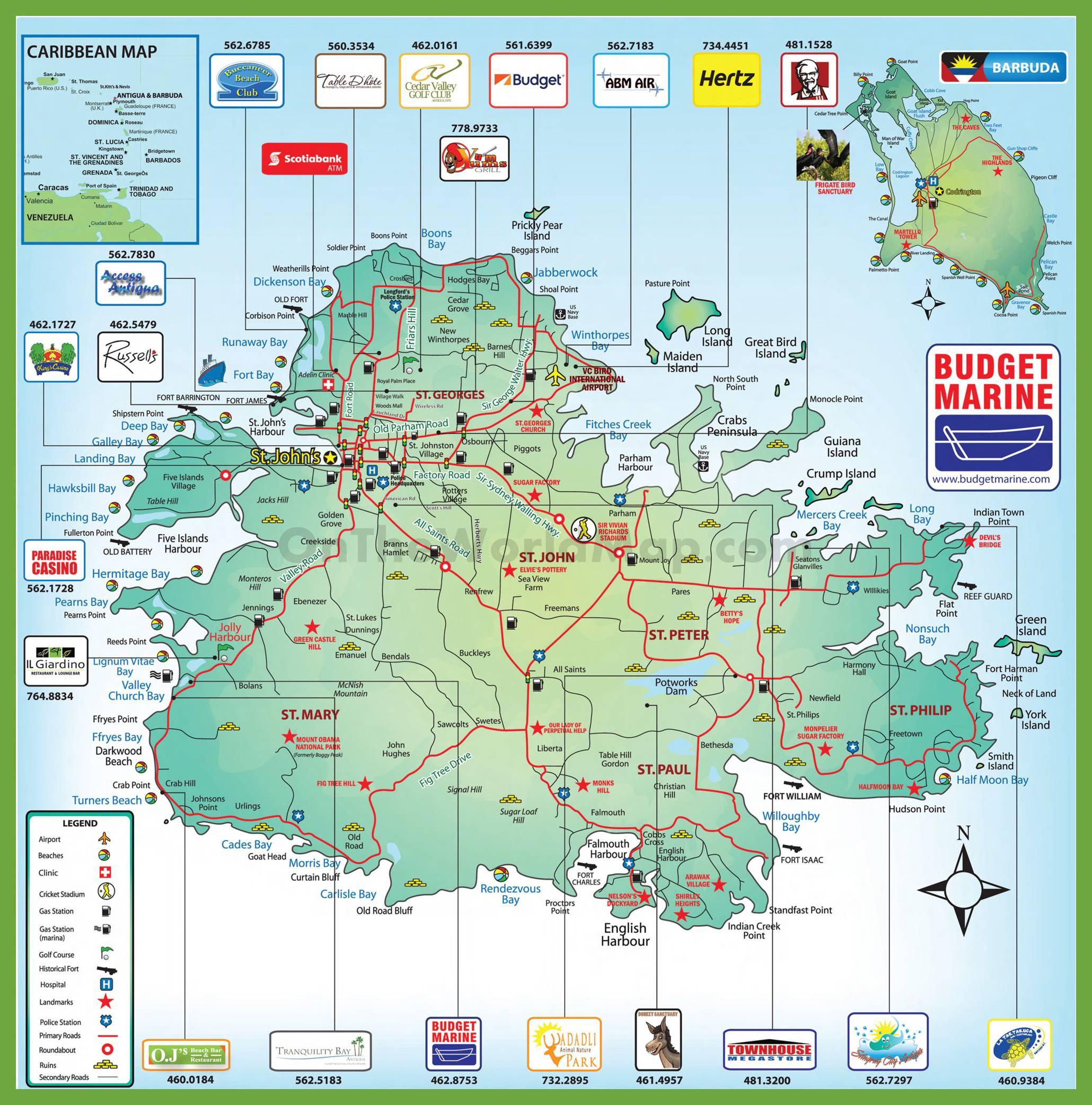 Carte détaillée d'Antigua-et-Barbuda