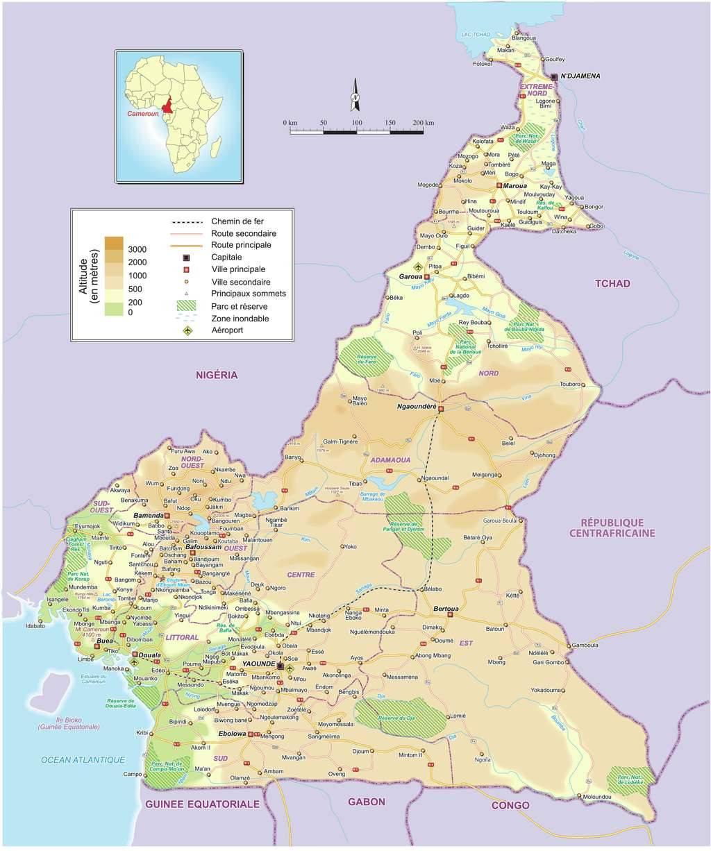 Carte détaillée du Cameroun