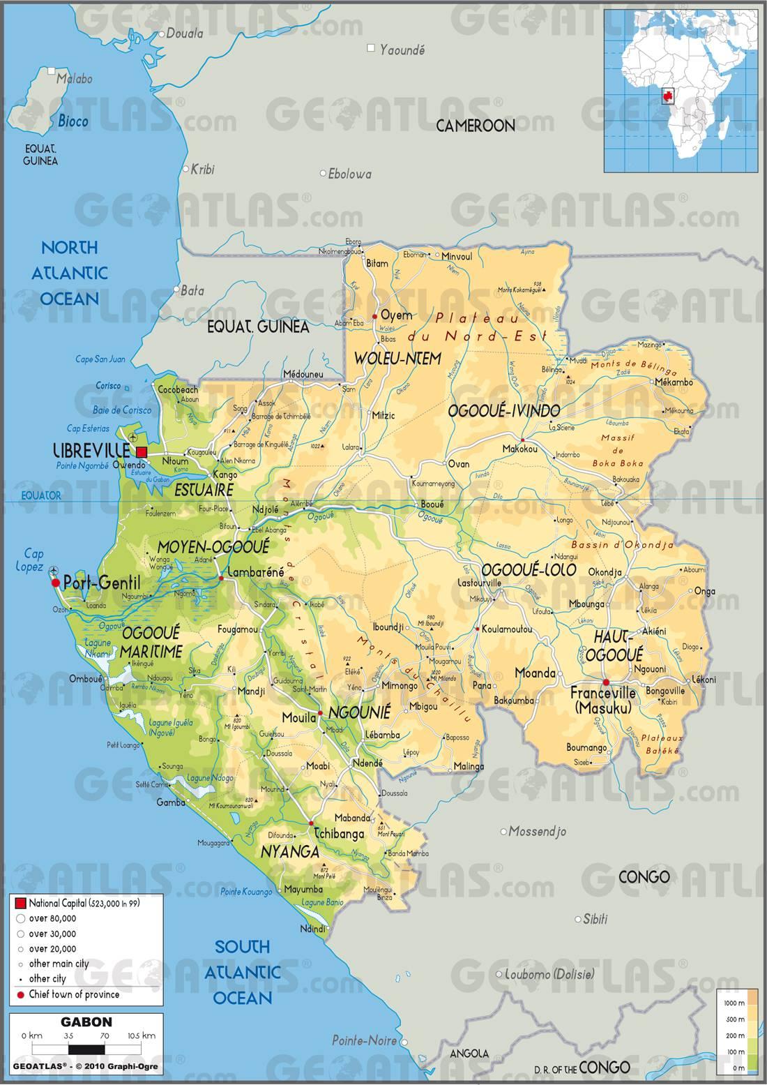 Carte détaillée du Gabon