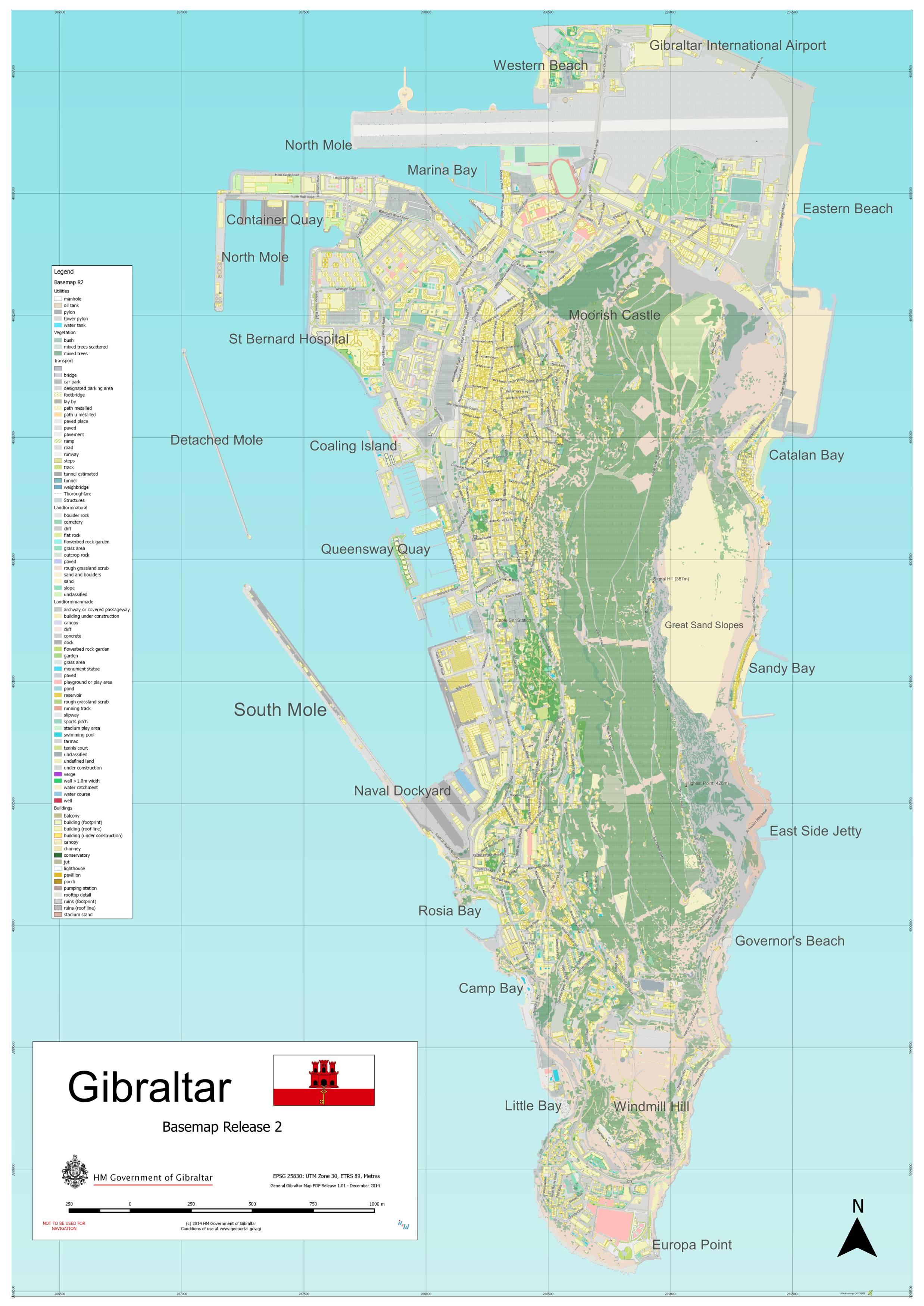 Carte détaillée de Gibraltar