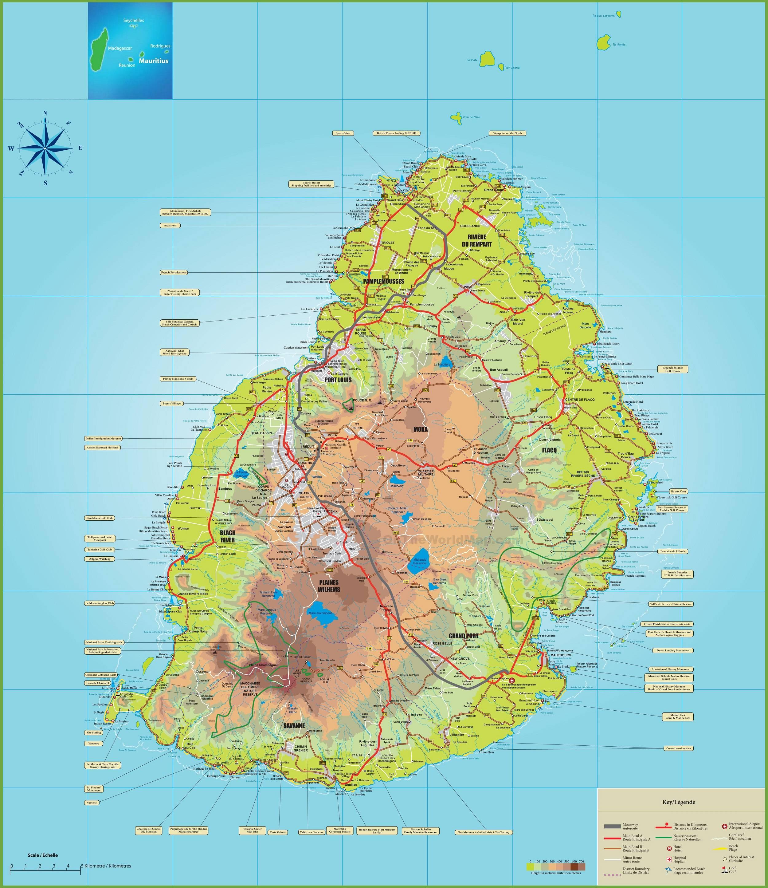 Carte détaillée de l'Île Maurice