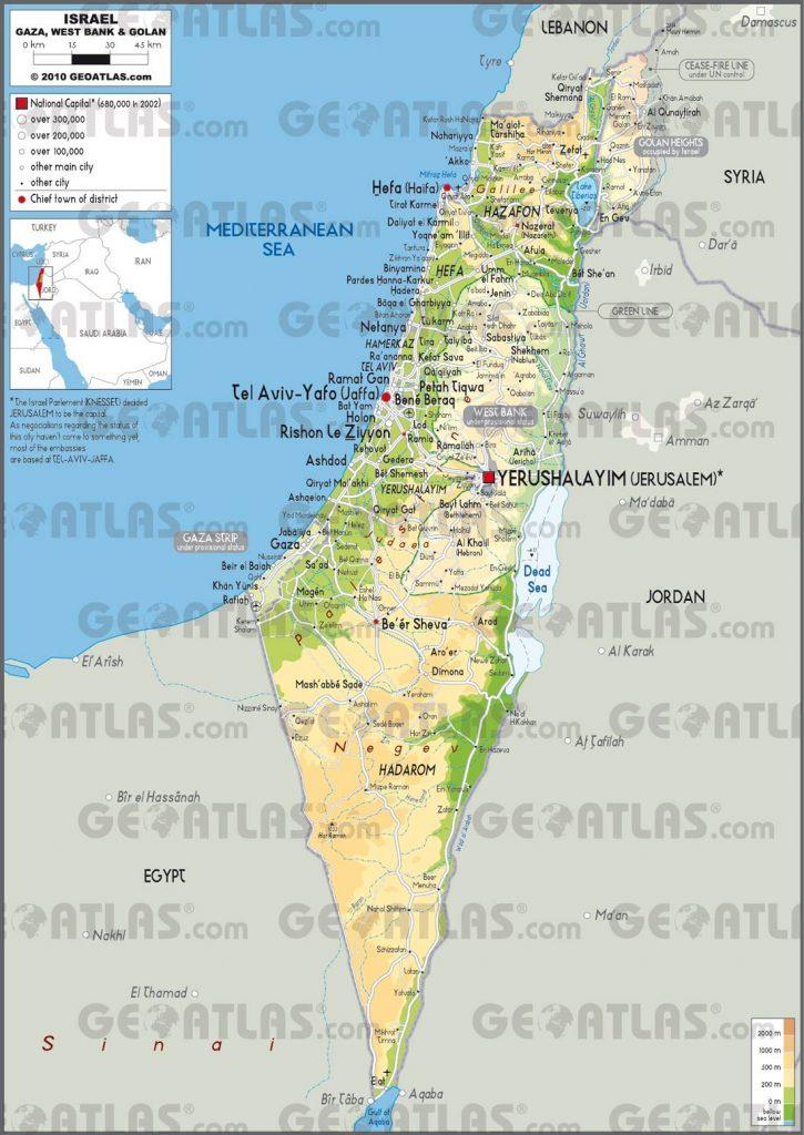 Carte détaillée d'Israël