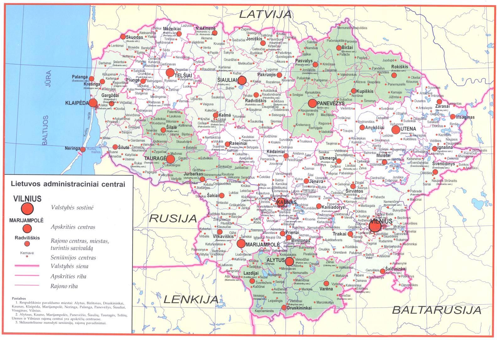 Carte détaillée de la Lituanie