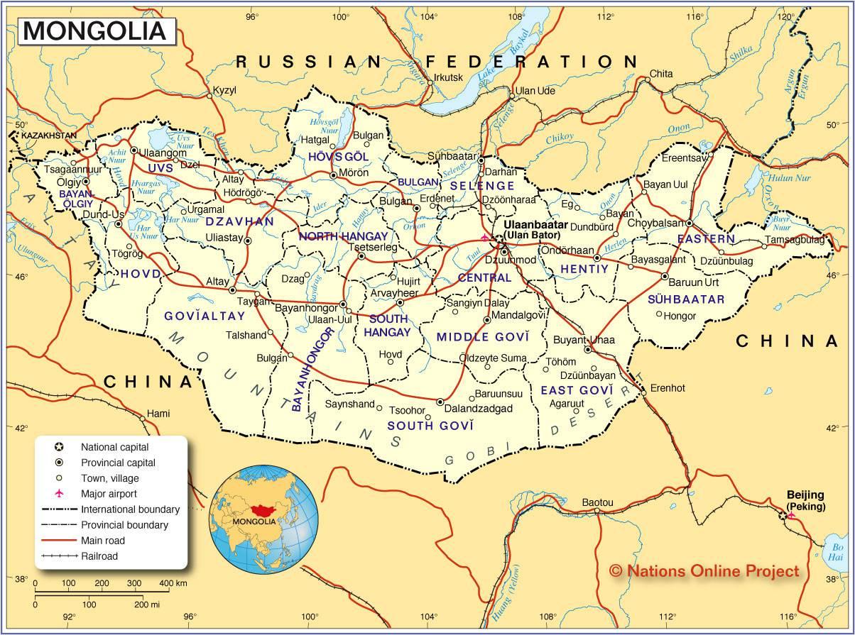 Carte détaillée de la Mongolie