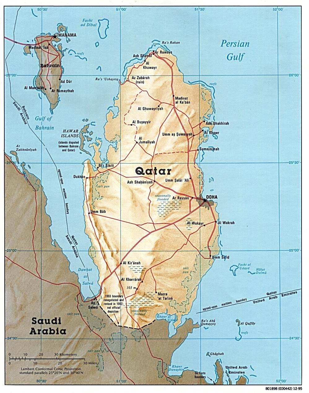 Carte détaillée du Qatar