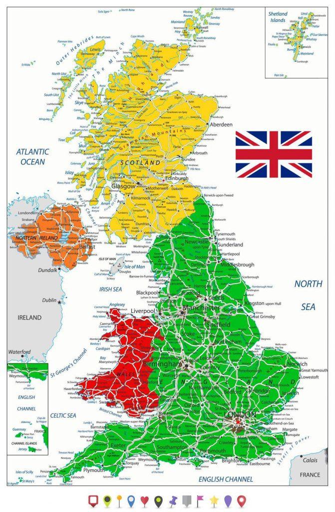Carte détaillée du Royaume-Uni