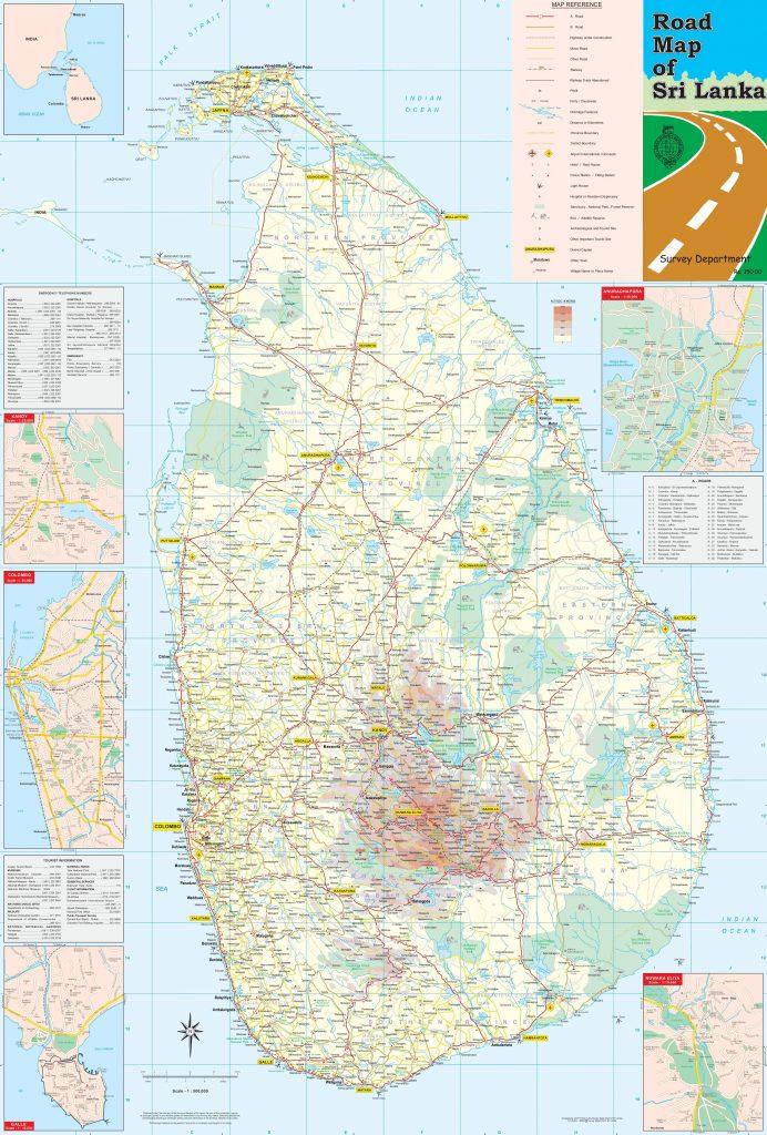 Carte détaillée du Sri Lanka