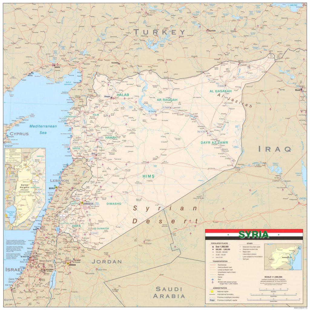 Carte détaillée de la Syrie