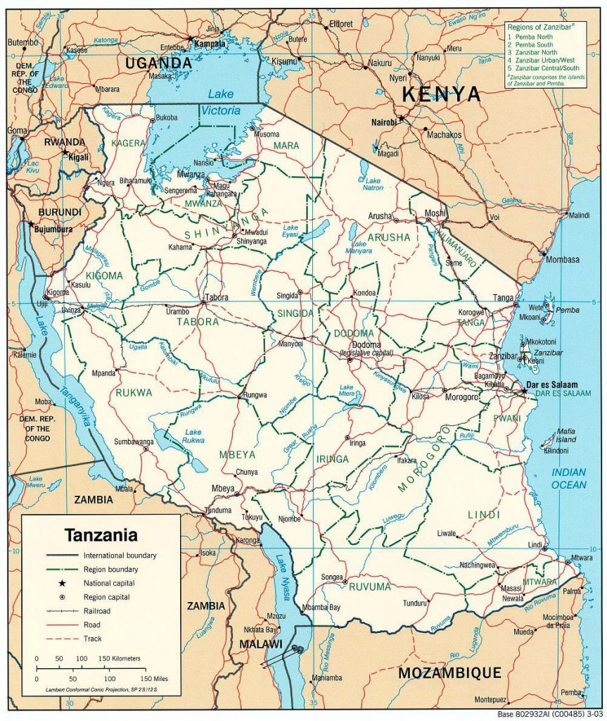 Carte détaillée de la Tanzanie