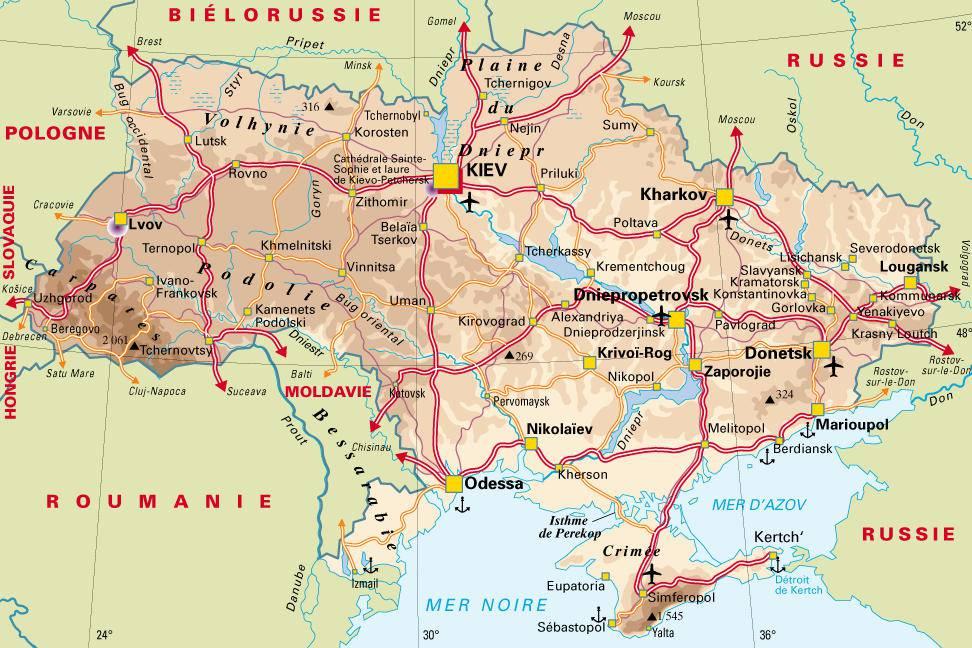 Carte détaillée de l'Ukraine