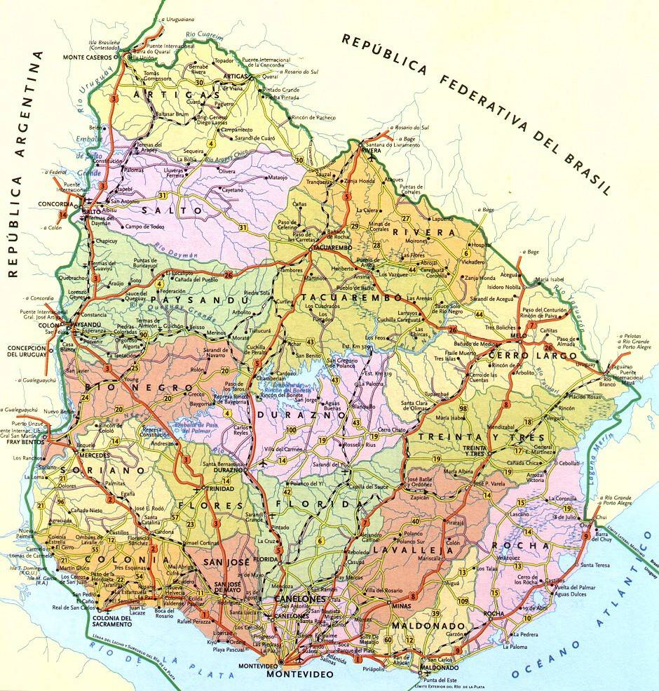 Carte détaillée de l'Uruguay